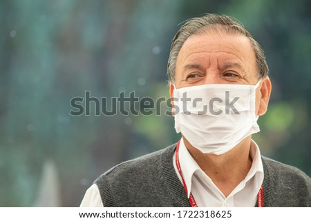 City: Santiago Country: Chile 2nd May 2020 Real people face portraits. People worried while walking in Providencia streets with mask protection because of coronavirus disease infection COVID-19 #1722318625
