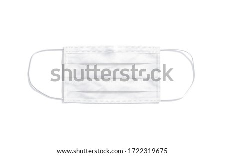 Blank white medical protection mask mockup, top view, 3d rendering. Empty disposable face respiratory for quarantine mock up, isolated. Clear cover filter for coronavirus pandemic mokcup template.
