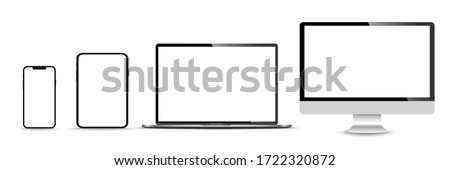 Realistic set of monitor, laptop, tablet, smartphone - Stock Vector illustration. Royalty-Free Stock Photo #1722320872