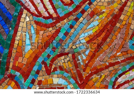 Colorful glass and stone mosaic tiles, background, texture. Abstract Pattern.  #1722336634