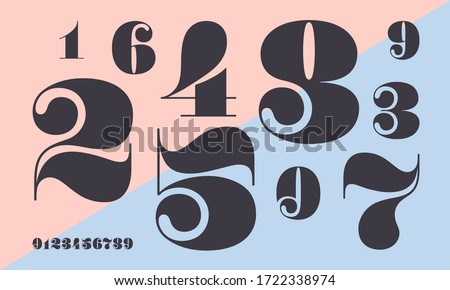Number font. Font of numbers in classical french didot or didone style with contemporary geometric design. Beautiful elegant numerals. Vintage and old school retro typographic. Vector Illustration Royalty-Free Stock Photo #1722338974