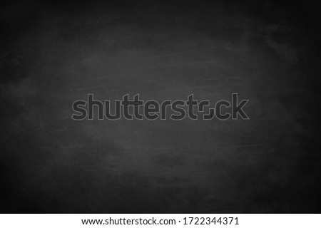 Chalkboard or black board texture abstract background with grunge dirt white chalk rubbed out on blank black billboard wall, copy space, element can use for wallpaper education communication backdrop #1722344371