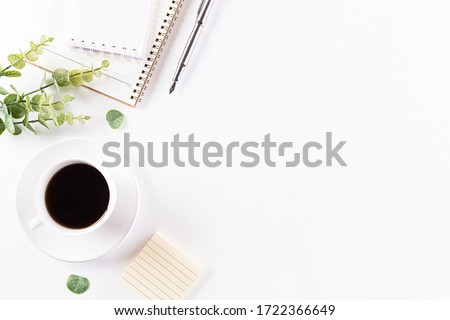 Flat lay, top view office table desk. Workspace with keyboard, office supplies, pencil and coffee cup with copy space on white background. Royalty-Free Stock Photo #1722366649