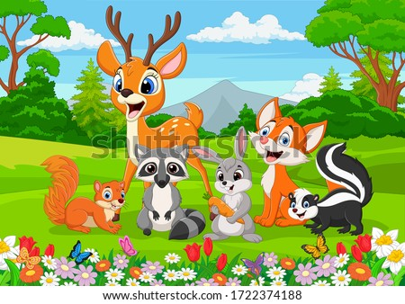 Cartoon wild animals in the jungle Royalty-Free Stock Photo #1722374188