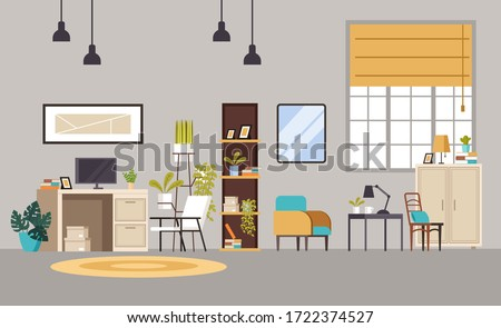 Home office cabinet living room interior concept. Vector flat graphic design cartoon illustration Royalty-Free Stock Photo #1722374527