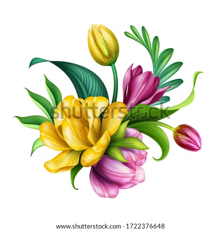 digital illustration, botanical arrangement design, pink and yellow tropical flowers and green leaves, colorful bouquet, floral clip art isolated on white background