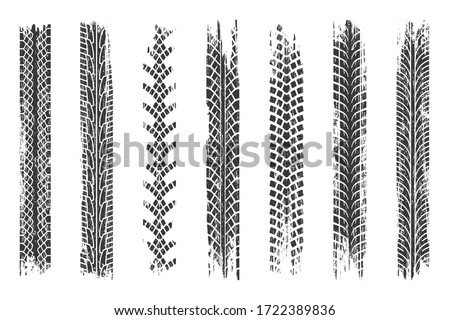 Tire mark. Car and motorcycle tire track vector set. Truck tread mark on the road concept. Vector tire mark from different tread type of car and moto wheel #1722389836