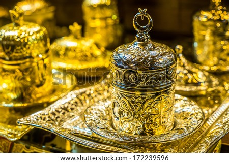 Traditional silver turkish teapot set from Istanbul, Turkey