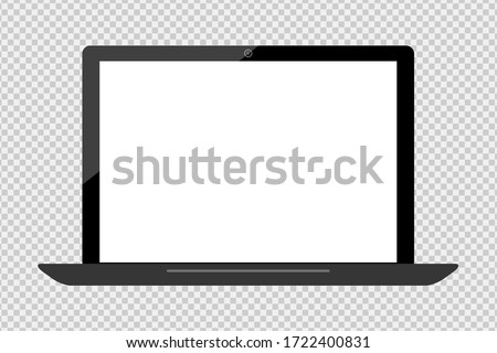 empty screen new modern laptop isolated on translucent with clipping path