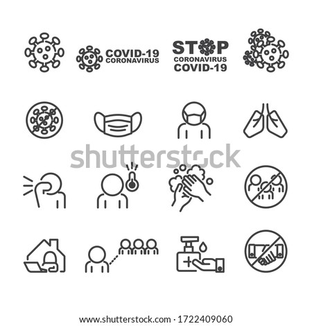 Covid-19 and Protect icons set,Vector #1722409060