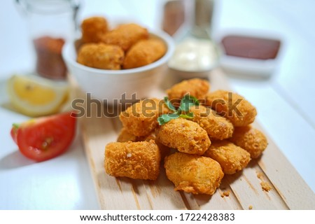 Fried fish nugget and sauce
