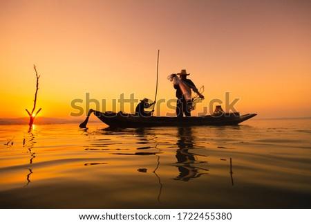 fisherman asia silhouette morning sun rise