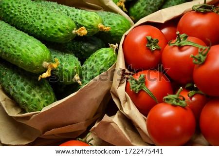 Fresh vegetables from farmers market. Cucumbers, tomatoes. Pickle cucumbers. Organic vegetables. Salad ingredients. #1722475441
