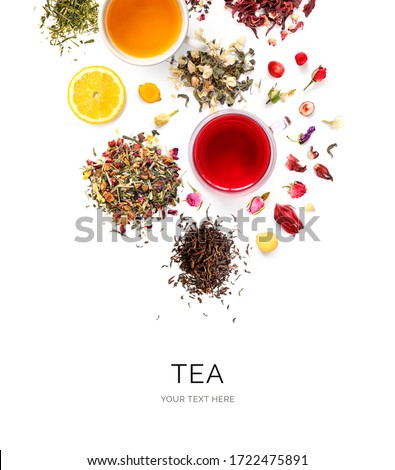 Creative layout made of cups of tea, green tea, black tea, fruit and herbal tea, sencha, hibiscus, ginger on white background.Flat lay. Food concept. #1722475891