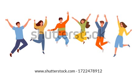Happy people jumping set. Young funny teens guy, girl jumping together for joy joyful celebration victory team of smiling students celebrates success. Happy color cartoon vector graphics. Royalty-Free Stock Photo #1722478912
