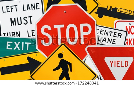 Traffic Signs: Compilation of Various Street Signs - Stop, Yield, Exit and More