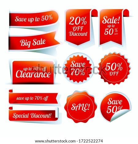 Sale label, tags set illustration, discount