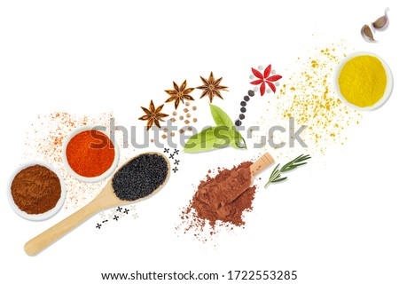 Flat lay top view.Set of spices and herbs isolated on white background.With clipping path. #1722553285