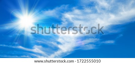 Sunny background, blue sky with white clouds and sun, 3D illustration. Royalty-Free Stock Photo #1722555010