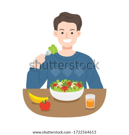 Young men eating salads. Diet food for life. Healthy foods with benefits. Healthy and vegan food concept. #1722564613