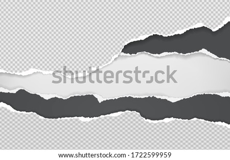 Pieces of torn black and white squared paper with soft shadow stuck on white background. Vector illustration Royalty-Free Stock Photo #1722599959