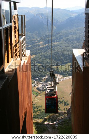Fuente Dé Cable car transport system arrive to elevate  tourist high up to the mountain peaks #1722620005
