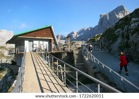 Mountain cabin at Fuente Dé Cable car transport system to elevate  tourist high up to the mountain peaks #1722620011
