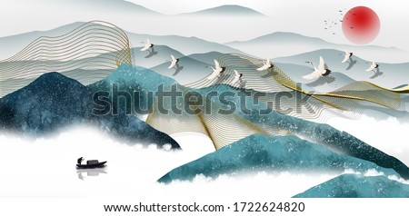 3d illustration image of mountain river water and cloud