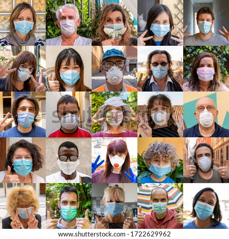 sets of positive people portraits wearing masks during the coronavirus covid-19 infection period #1722629962