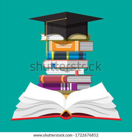 Graduation cap on stack of books. Academic and school knowledge, education and graduation. Reading, e-book, literature, encyclopedia. illustration in flat style