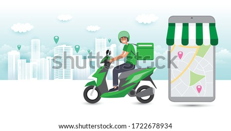 Online food order and food delivery service. Food delivery and fast food design for landing page, web, poster, flyer. Ready meal logistic with city skyline background. Vector illustration.  #1722678934