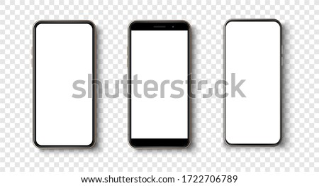 High quality realistic trendy  no frame smartphone with blank white screen. Mockup phone for visual ui app demonstration. Vector mobile set device concept. Detailed Mockup Smartphone Royalty-Free Stock Photo #1722706789