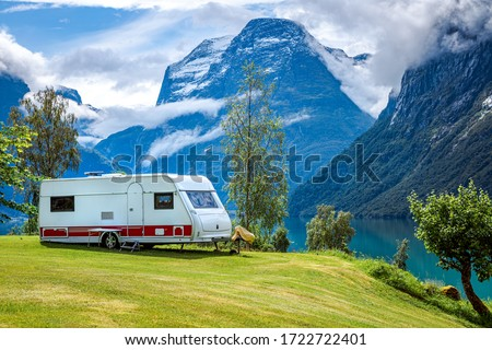 Family vacation travel RV, holiday trip in motorhome, Caravan car Vacation. Beautiful Nature Norway natural landscape. #1722722401