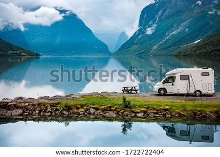 Family vacation travel RV, holiday trip in motorhome, Caravan car Vacation. Beautiful Nature Norway natural landscape. #1722722404
