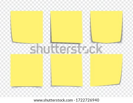 Realistic Yellow sticky note notes isolated on white. Square sticky paper reminders with shadows, paper page mock up.  #1722726940