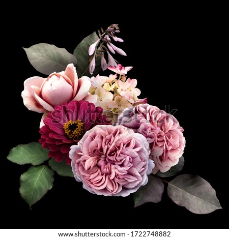 Pink roses, dark red zinnia and hydrangea isolated on black background. Floral arrangement, bouquet of garden flowers. Can be used for invitations, greeting, wedding card. #1722748882