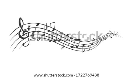Music notes banner. Monochrome musical notes waves, sound backdrop. Vector illustration. #1722769438