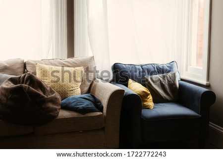 tan and blue sofa and chair #1722772243