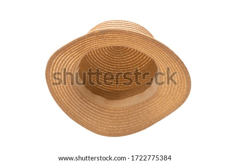 Straw hat with black bow isolated on white background.  Royalty-Free Stock Photo #1722775384