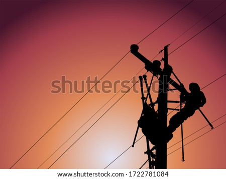 The silhouette of lineman are replacing damaged insulator insulators by using insulated wire-tong sets, tie stick and robe box sets in sliding wires going out in a safety working distance. #1722781084