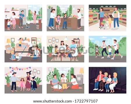 Family routine flat color vector illustrations set. Mother and father buy groceries with kids. Parents spend time with children while cleaning house. Watch movie on couch. 2D cartoon characters #1722797107