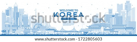 Outline Welcome to South Korea City Skyline with Blue Buildings. Vector Illustration. Tourism Concept with Historic Architecture. South Korea Cityscape with Landmarks. Seoul. Busan. Daegu. Incheon. #1722805603