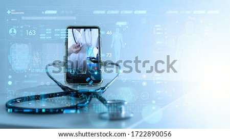 Tele medicine concept,Medical Doctor online communicating the patient on VR medical interface with Internet consultation technology Royalty-Free Stock Photo #1722890056