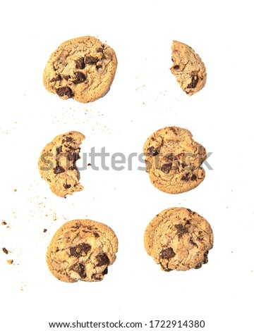 pack of different piece of homemade chocolate chip cookies. Isolated White Background with Clipping path.   #1722914380