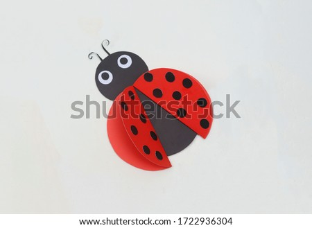 Cute Ladybug - Beautiful Paper Crafts for Kids - Red Ladybugs Insect Bug Royalty-Free Stock Photo #1722936304