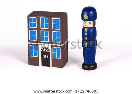 wood toys. Police station with police English style. England