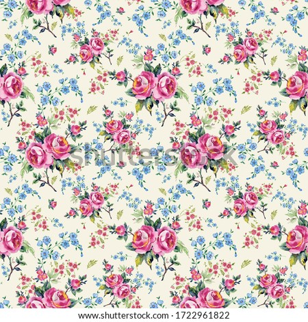 Bright seamless pattern flowers drawn on paper paints.Stylish print for textile design and decoration.  #1722961822