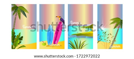 Set of vector summer backgrounds with toucan, surfboard, palms, beach, island, ocean. Tropical vacation concept for social media stories, advertisements, flyers. Paradise illustration in flat style #1722972022
