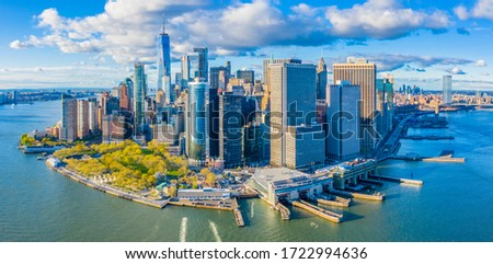 Aerial view of Manhattan Financial District Skyline from New York Harbor Royalty-Free Stock Photo #1722994636