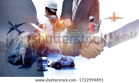 Business people shaking hands, success business of Logistics Industrial Container Cargo freight ship for Concept of fast or instant shipping, Online goods orders worldwide #1722994891